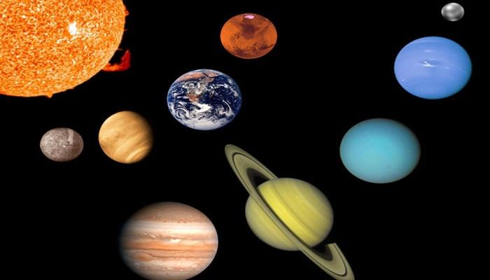 A cor dos planetas do sistema solar